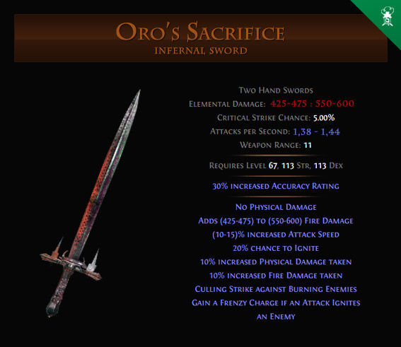 Oro's Sacrifice 2h two handed sword - Path of Exile PoE Items Swords Gameplaymachine