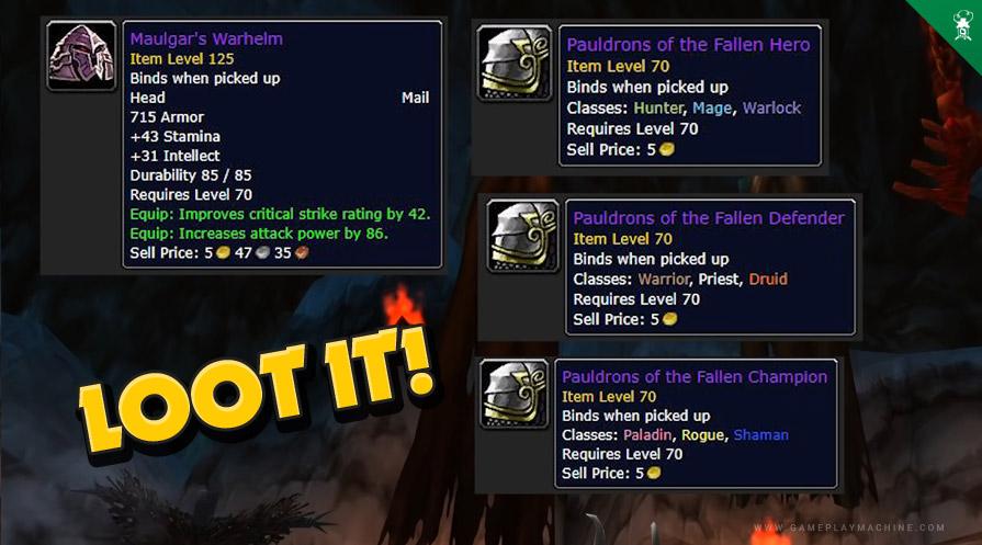 Wow TBC Burning Crusade bosses gruul's lair raid High King Maulgar drop items loot