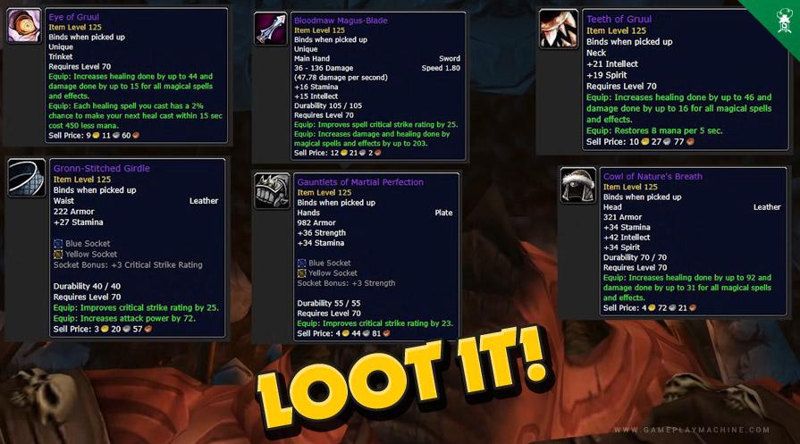Wow TBC Burning Crusade bosses gruul's lair raid RAID BOSS GRUUL drop items loot