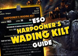 How to get Harpooner's Wading Kilt ESO Blackwood, best way to get, how long, WATERPLANTS (NIRNROOT, WATER HYACINTH, PURE WATER NODE, WATER SKIN / Kothringi-Cut Leather, Bog-Blue Jasper Fetish; Silverweave Cord; Wolf-Tail Sash; how to get Tide-Glass Beads